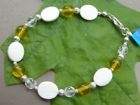 Handmade Bracelet of Yellow and Clear Czech Glass, MOP Shell Beads, and Silver