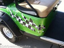 Golf Cart  RIPPED Racing CHECKERED FLAG Graphics Set fit EZGO club Car Yamaha
