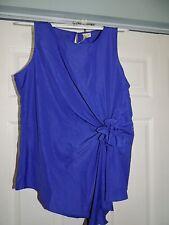 WOMEN'S A Diva Blouse Size L Dark Purple NWT Sleeveless W/Bow Gathered @ Side