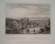 Teplitz Teplice Gesamtansicht  Tschechien Ceska  alter Stahlstich 1848