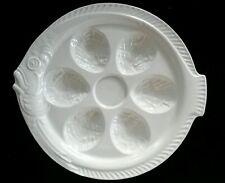 Ivory color fish oyster service tray Erphila Czechoslovakia pottery