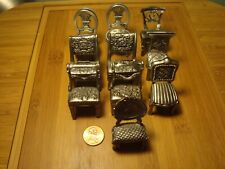 """Pewter, 10 Miniatures,2"""" tall , chairs, Diorama, Dollhouse, Place Card Holders"""