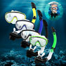 Scuba Snorkeling Tempered Glass Diving Mask Goggles + Full Dry Snorkel Tube Set