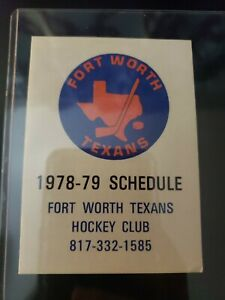 1978-79 Fort Worth Texans CHL Hockey Pocket Schedule Central League RARE