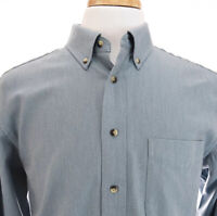 Jos A Bank Travelers Collection Herringbone Mens Button Down Shirt Blue Sz M