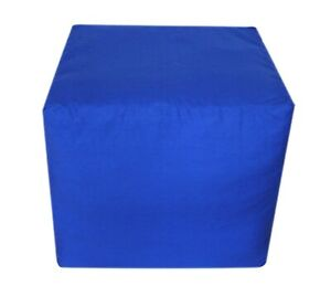 """Ottoman Footstool Pouf Cover Indian Handmade Blue 16"""" Square Plain Puffy Covers"""