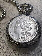 Case & Chain Quartz Watch Japan Vintage 1879 Morgan Silver Dollar Pocket Watch