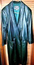 G-III Global Identity Dark Green Women's Full Length Genuine Leather Coat Sz M/M