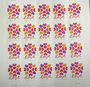 100 Hearts Blossom Love stamps 5 Sheets Of 20 USPS Postage