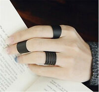 3 Pcs Midi Rings Set Womens Black Stack Plain Above Knuckle Ring Band Ring New