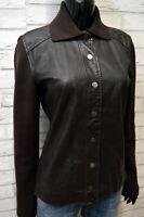 TRUSSARDI Giacca in Vera Pelle Donna Cappotto Taglia 42 Giubbotto Jacket Leather