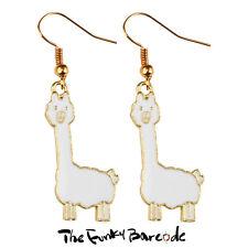 TFB - ALPACA DANGLE EARRINGS Funky Fluffy Animal Zoo Novelty Retro Sweet llama