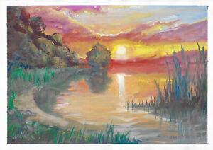 original painting A3 257MA art samovar modern gouache landscape sunset