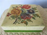 Large Painted Floral Italian Florentine Tole Wood Jewelry Dresser Trinket Box