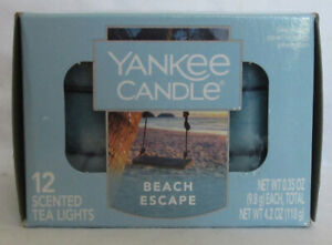 Yankee Candle 12 Scented Tea Light T/L Box Candles BEACH ESCAPE