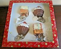 Dillards Trimmings Set/ of 4 Glass Cupcakes Desserts Christmas Ornaments, NEW