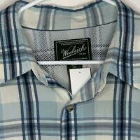 Woolrich Mens Shirt Plaid Vented Blue SS 2XL