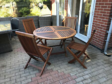 Wooden Garden/Patio Folding Round Table and 4 Matching Chairs