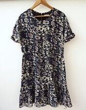 Whistles Animal Blue Black Frill Hem Printed Sheer Dress Size 10