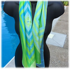 15 x 42 Geometric Diamonds Blue Green Scarf Fresh Colors Silky