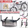 Bicycle Cycling Wall Mount Rack Foldable Bike Hanger Holder & Helmet Storage Net
