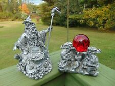 Large Pewter Look Wizard Holding Crystal Ball & 3 Dragons Holding Red Glass Ball
