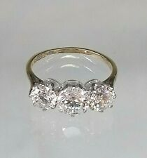 Vintage Trilogy Ring 9ct Yellow Gold 2+ ct Diamond Simulant REAL GOLD Pristine