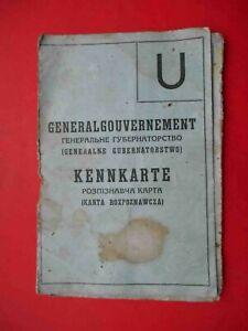 Occupation of UKRAINE Document ID 1943 Ausweis Kenkarte. WWII document
