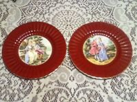"2 Wade England Royal Victoria 10"" Ceramic Plates Courting Couple Love Red Gold"