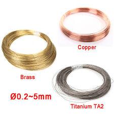 Copper / Brass / Titanium TA2 Wire Ø 0.2 0.3 0.4 0.5 0.8 1 1.2 1.5 2 2.5 3 4 5mm