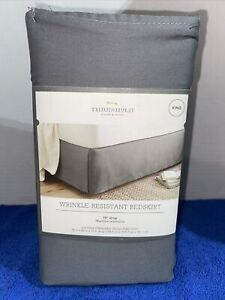 Threshold Wrinkle-Resistant Cotton Bed Skirt King Size Gray