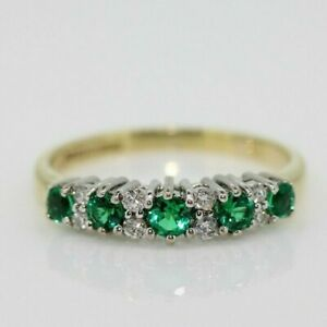 9ct Yellow Gold Green Garnet and Diamond Eternity Ring Size O, US 7