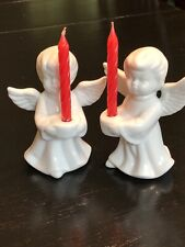 Two Vintage White Ceramic Angel Candle Holders 4� H x 3� W Made In China