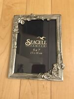 Vintage 1994 Seagull Pewter Picture Frame. 5x7 Art Deco. Excellent! Signed!