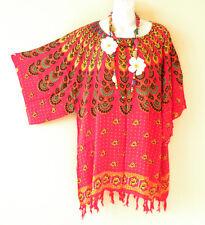 Red Batik Paisley Kimono Kaftan Maternity Poncho Tunic Blouse Top M, L, XL & 1X