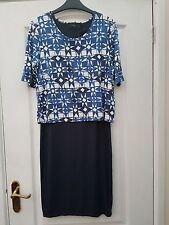 NEXT NAVY BLUE WHITE GEO PRINT LAYER TOP STRETCHY TUBE BODYCON WIGGLE DRESS - 10