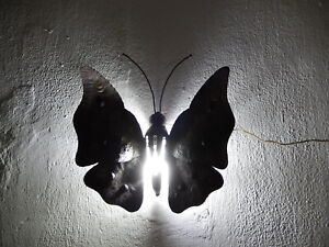 ~Midcentury Italian Brutalist Wrought Iron Butterfly Sconce Wall Light~