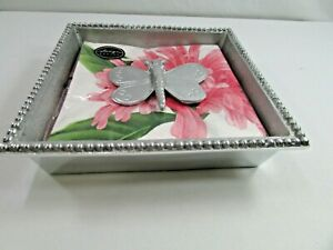 Silver Beaded Cocktail Napkin Holder & Butterfly Weight 8 X 8 x 2 Square Tray