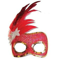 Sylvana Red Feathers glitter eyemask Mask masquerade Costume Dr Toms NF6418