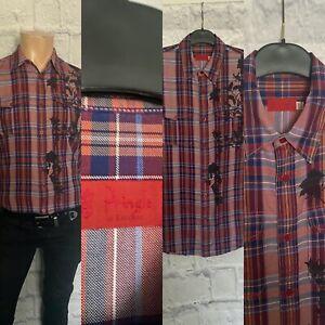 Pringle Shirt, Size 15.5, Medium, 100% Cotton, Wine Check Design, Great.