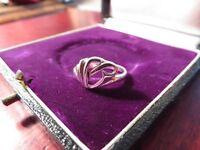 Schöner 925 Silber Ring Klein Modern Abstrakt Wellen Geschwungen Zart Filigran