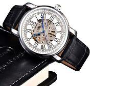 MCE Automatikuhr (159B), Lederarmband, Edelstahl, Bicolor,Skelett Armbanduhr