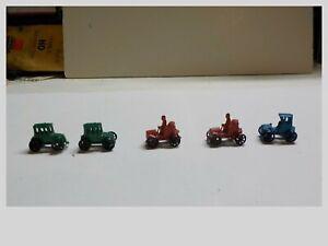 n gauge Lot Of 5 Old Time Painted Metal Cars