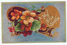"Vintage Postcard ""My True Valentine"" Gold Heart Flowers Arthur Capper 1910"