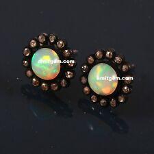 Ethiopian Opal 925 Sterling Silver Diamond Round Stud Earring Jewelry E-725