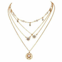 New Women Gold Choker Star Crystal Multilayer Chain Necklace Pendant Jewelry