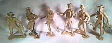 VINTAGE ORIGINAL Set of 6 Marx 6 inch Cowboy figures - TAN - RARE - NICE !!