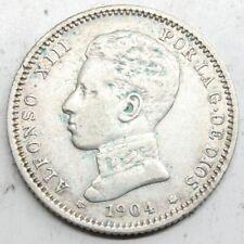 ESPAÑA ALFONSO XIII 1904 *19-04 Perfecta SMV 1 PESETA MONEDA PLATA MBC+