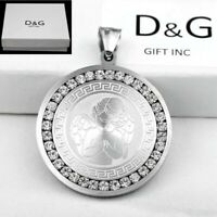 DG Men 35mm silver Stainless Steel Iced Out CZ ANGEL Pendant + Box