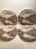 4 VINTAGE ''OLD ENGLISH COUNTRYSIDE'' JOHNSON BROS.DINNER PLATES  ENGLAND 10''